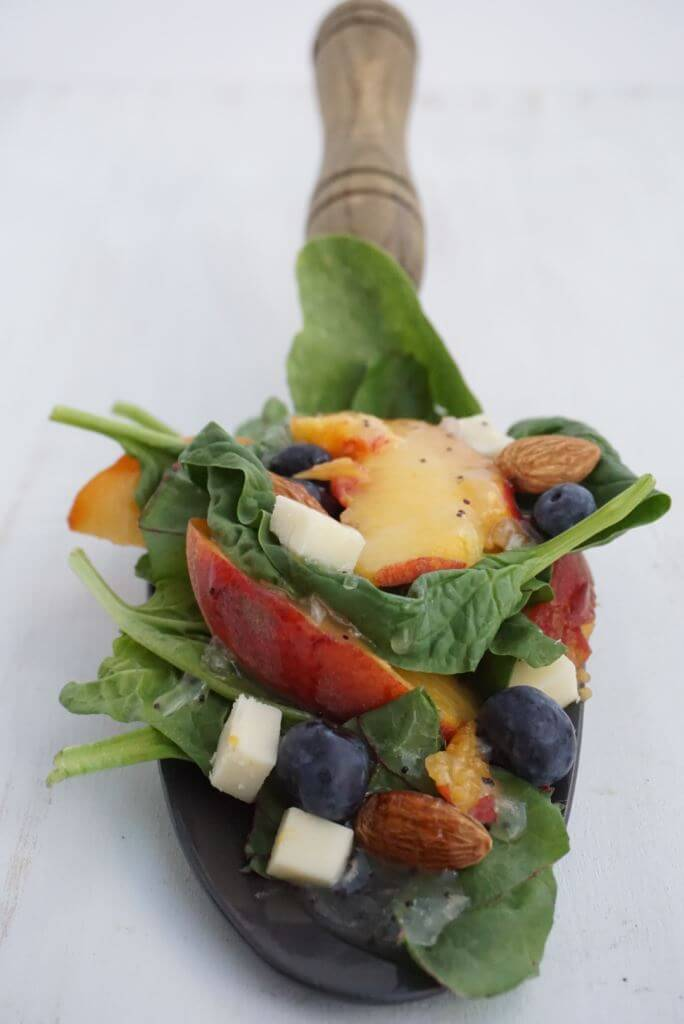Peaches and Greens with Poppyseed Dressing